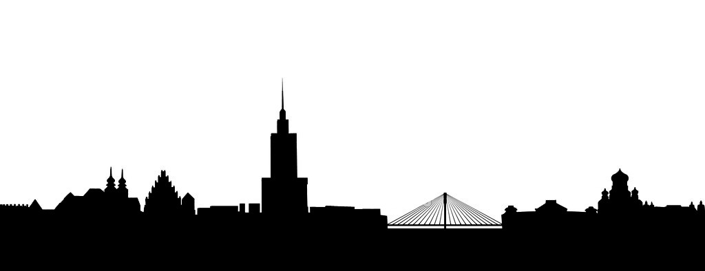 detailed vector skyline of Warsaw